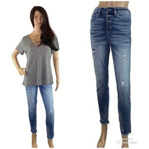 NWT Kancan 4-Button Distress Skinny Ankle Jeans